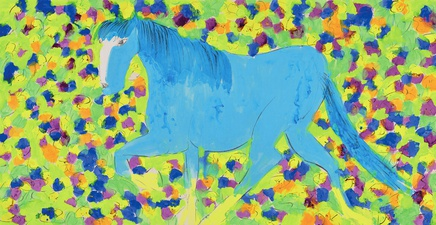 Walasse Ting, Blue Horse Among the Petals, 1990s