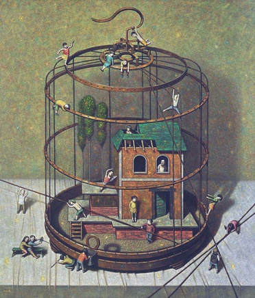 Liu Hong Wei, Small House in a Cage, 2008