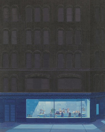 Zhang Gong, Café in Grey and Blue, 2013